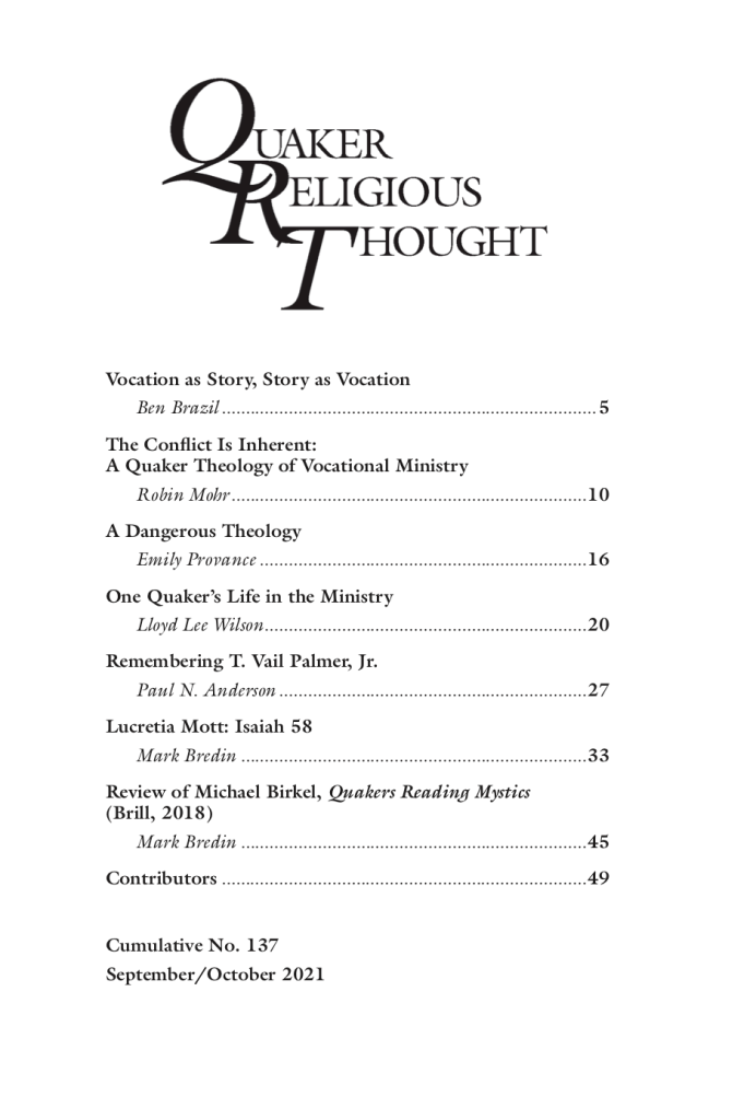 Cover of Quaker Religious Thought #137, words in post